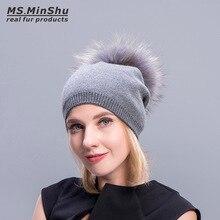 Ms.MinShu Knit Cashmere Beanie Fur Pompom Fashion Women Cap With Big Fur Ball Winter Raccoon Fox Fur Bobble Hat Elastic Wool Cap
