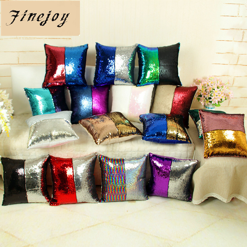fine joy 40x40 cm Mermaid Sequin Cushion Cover Colorful Square Two Color Changing Reversible Pillow Case Home Sofa Pillow Cover