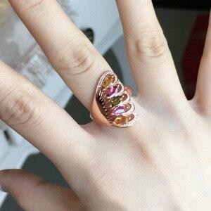 Image 1 - [MeiBaPJ naturalny turmalin kamień moda kolorowy kamień kwiatowy pierścień dla kobiet prawdziwe 925 srebro urok biżuterii