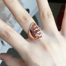 [Meibapj天然トルマリン宝石ファッションカラフルな石の花リング女性のためのリアル 925 スターリングシルバーチャームファインジュエリー