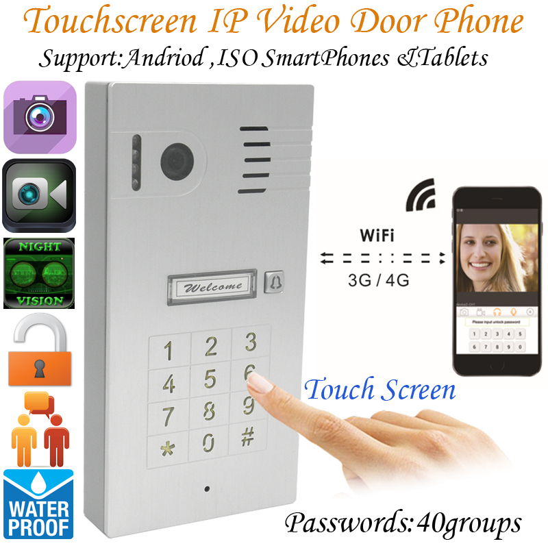New Touchscreen  Wireless Wifi Video door phone doorbell IP Camera Intercom Support IOS Android for Smart Phone Tablet hiperdeal smart house new wifi ip video door phone intercom with rfid keypad unlock android ios app