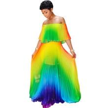 Women Long Dress Colorful Rainbow Pleated Vacation Sexy Off Shoulder Boho Chiffon Maxi Dress Summer Bohemian Beach Holiday Dress rainbow color maxi pleated dress page 1