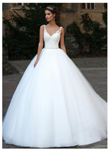 SoDgine Wedding Dress Ball Gowns 2019 Puff Tulle V Neck bridal gown dress White Floor Length Bride Dresses Lace Up Back