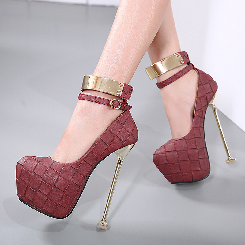 ФОТО Size 34-40 Womens Shoes Heels Red White Gray High Heels 16cm Women Wedding Party Shoes Fashion Black Shoes Woman High Heel