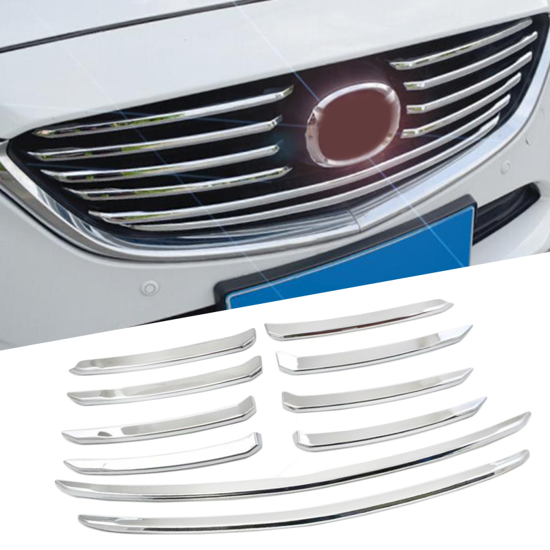 ABS Chrome Front Racing Grille Cover Trim Exterior Accessories 10pcs Front Grille Cover Trims For Mazda 6 M6 Atenza 2017 2018 1pc chrome abs head front center grill grille bumper trim cover for mazda 6 m6 atenza 2014 2015
