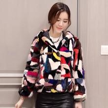 2017 factory new arrival women's pieces multicolour genuine fashion mink fur coat hooded LSQ-p1