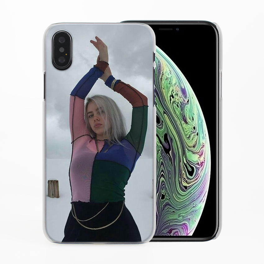 Billie Eilish Music girl Phone Cases for Apple iPhone 7 8 Plus 5 5s 6 6s Plus X XS XR XS MAX Hard protective Case cover in Half wrapped Cases from Cellphones Telecommunications