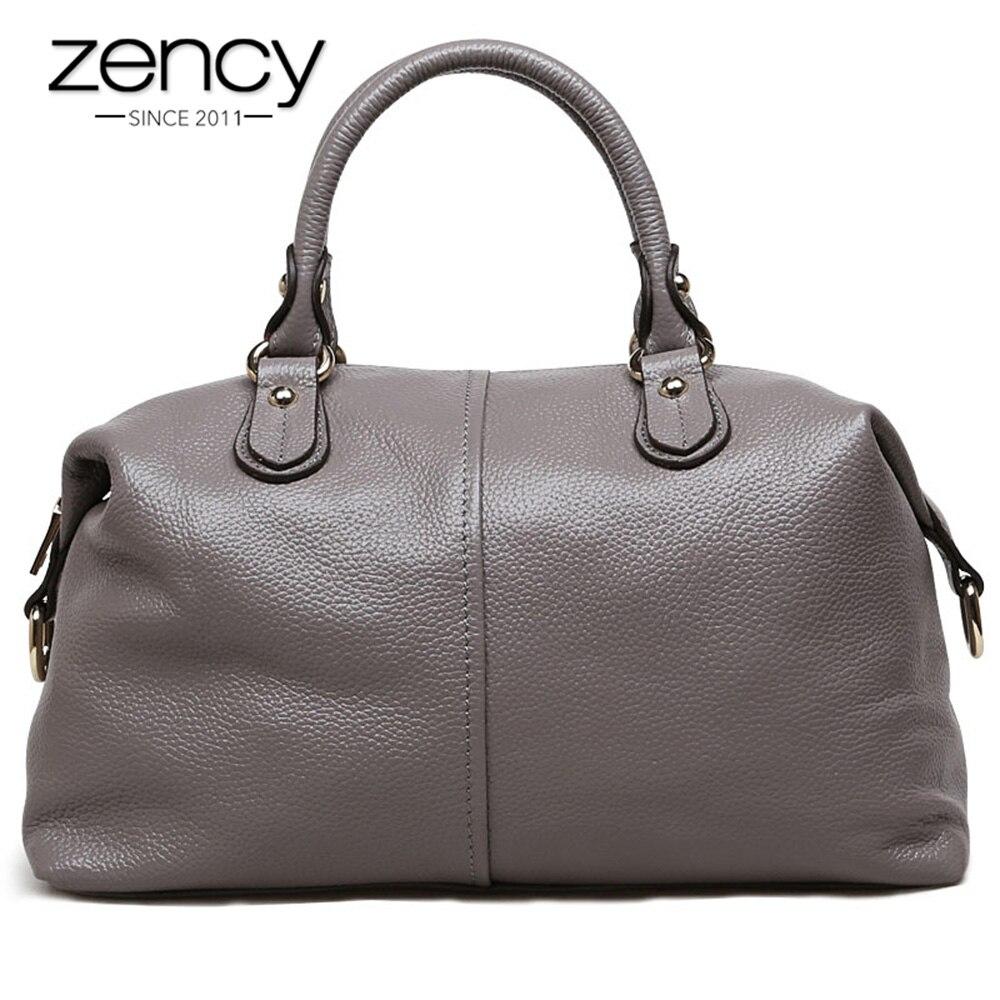 Zency Boston Designer Frauen Handtasche 100% Echtem Leder Tote Schulter Tasche Damen Geldbörse Lässige Satchel Kapazität Bolsa Feminina-in Schultertaschen aus Gepäck & Taschen bei  Gruppe 1