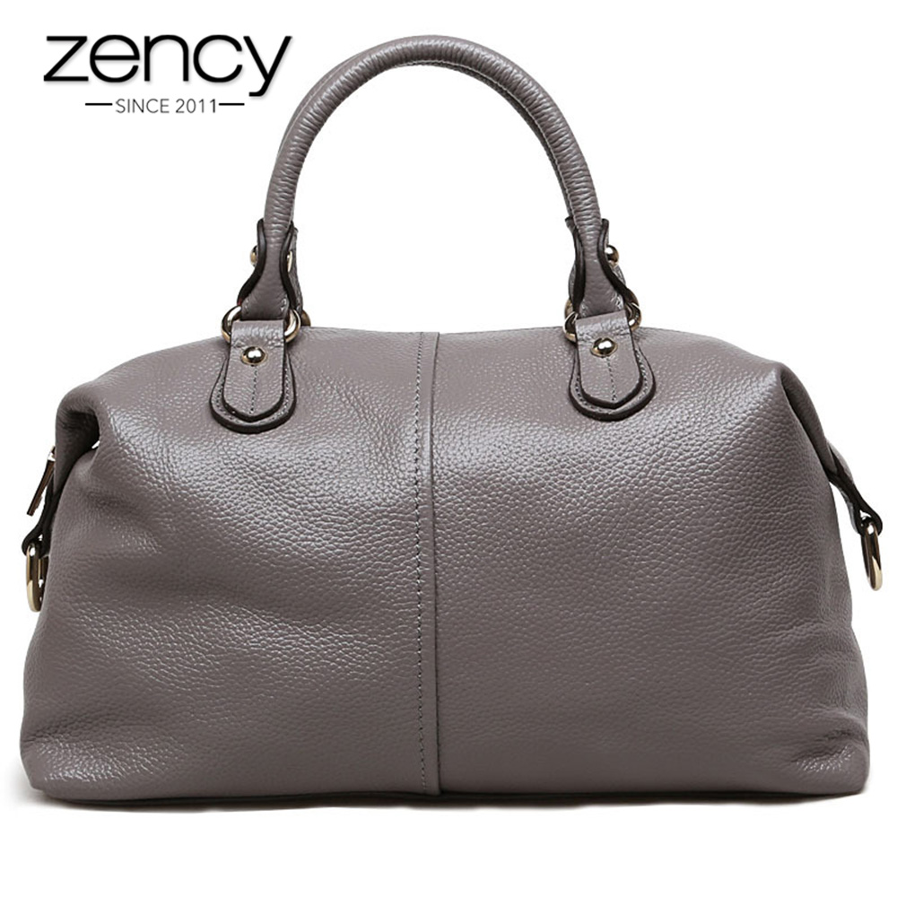 Zency Boston Designer Women Handbag 100% Genuine Leather Tote Shoulder Bag Ladies Purse Casual Satchel Capacity Bolsa Feminina-in Shoulder Bags from Luggage & Bags    1
