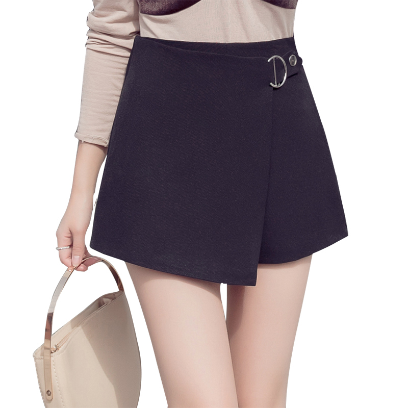 2018 new high waist   shorts   black white elegant office lady work   short   pants plus size irregular bandage zipper skirts   shorts