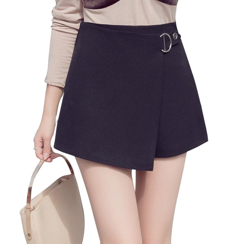 2019 new high waist   shorts   black white elegant office lady work   short   pants plus size irregular bandage zipper skirts   shorts