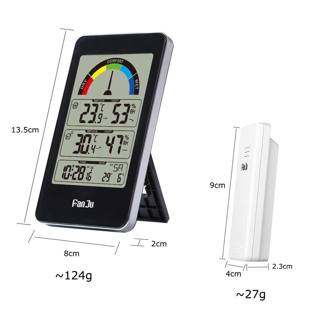 FanJu Despertador Digital Eletrônico Medidor de Temperatura E Umidade Sem Fio Ponteiro Indicação de Conforto Interior Termômetro Ao Ar Livre