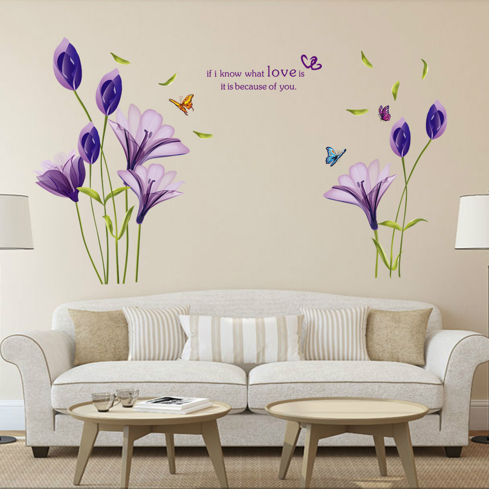 9244 purple lily flower wall explosion of living room bedroom decorative stickers can remove waterproof