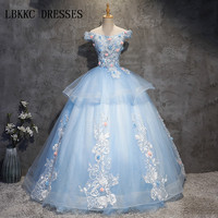 lace Quinceanera Dresses Blue 15 Sweet 16 Puffy Quinceanera Gown Prom Dresses For 15 Years Vestido De Debutante