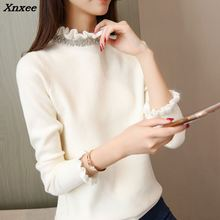 2018 new Autumn and winter long sleeved head fungus collar sweater, female Korean version of slim, solid knit shirt