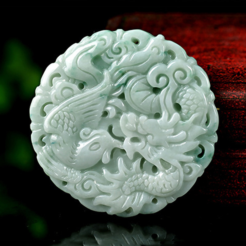 KYSZDL Myanmar natural green stone hand carved dragon phoenix couple stone pendant fashion jewelry wholesale
