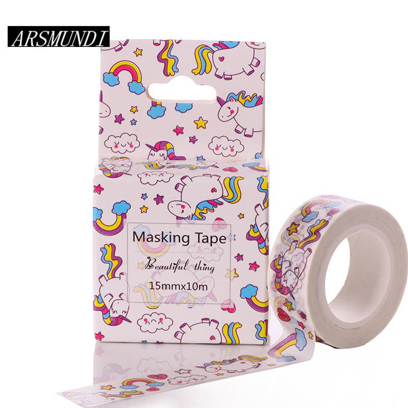Kawaii Unicorn Washi Tape Diy Fita Decorativa 15mm*10m Masking Adesiva Decorada Tapes Cute Washitape Decorative Adhesive Tape