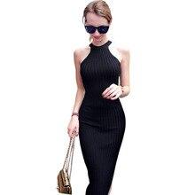 Женщины Длинные вязать платье 2016 г. весна сексуальный тонкий Bodycon платья Эластичный Тощий Сплит платье краткое повод черные платья vestidos