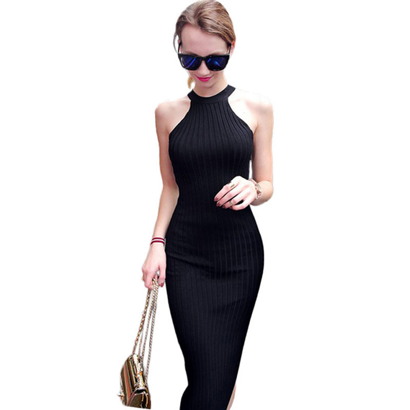 Buy Cheap Women Long knitting Dress 2016 Spring Sexy Slim Bodycon Dresses Elastic Skinny Split Dress Brief Halter Black Dresses vestidos