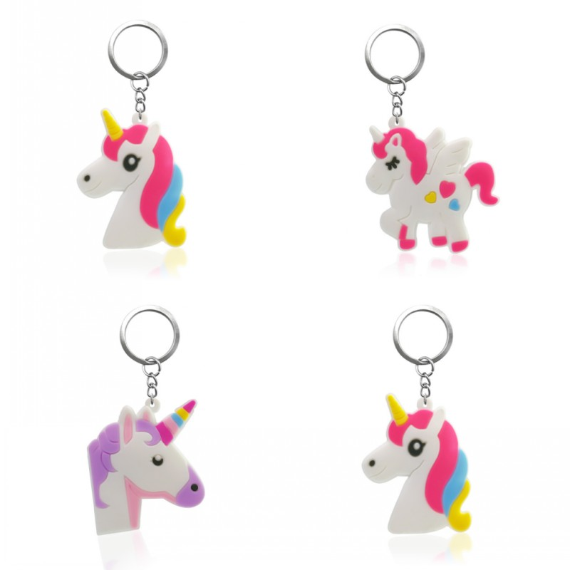 1PCS PVC Key Chain Cartoon Unicorn Mini Anime Figure Key Ring Keychain Key Holder Fashion Charms Trinket