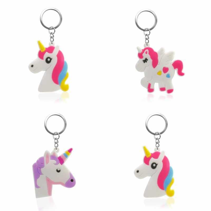 1PCS PVC מפתח שרשרת קריקטורה חד קרן מיני אנימה דמות מפתח טבעת Keychain מפתח מחזיק אופנה קסמי תכשיט
