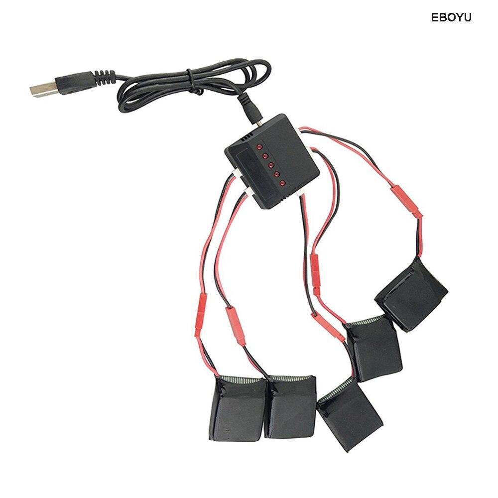 EBOYU 5 pcs 3.7 v 650 mah Lipo Batterie + 5-en-1 Équilibre Chargeur pour JIE-STAR X8TW X8T Q1012 Q9 Pliable Quadcopter Drone