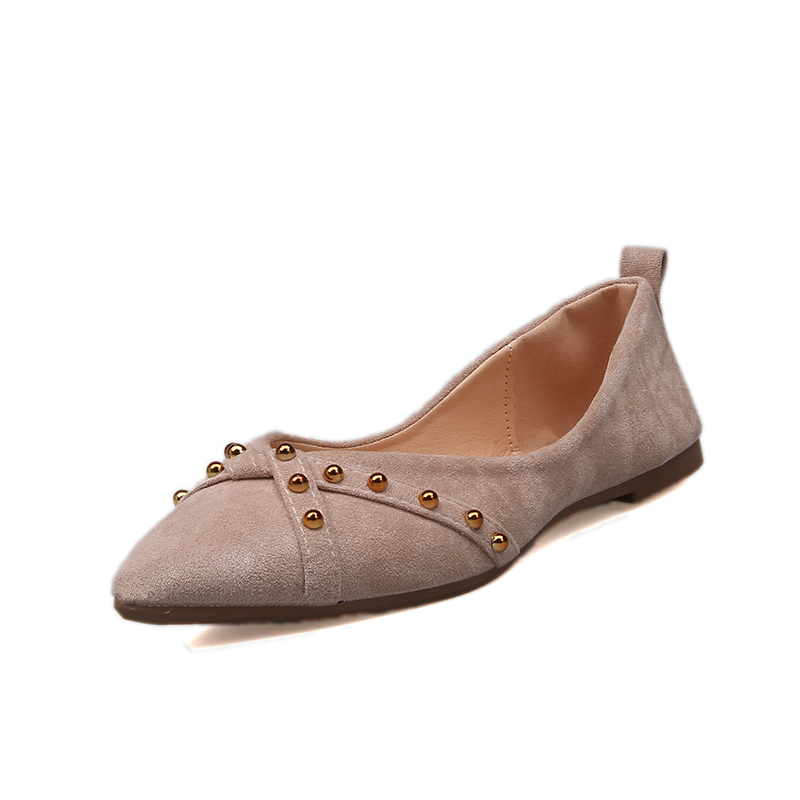 2019 New Fashion Women Flat Comfy Shoes   Suede     Leather   Casual Metal Rivet Pointed Toe Boat Shoes For Office Ladies