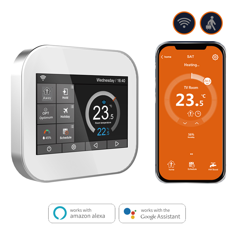 Wifi touch thermostat for water heating/radiator valve by English/German/Polish/Czech/Italian/Spainish control by smart phoneWifi touch thermostat for water heating/radiator valve by English/German/Polish/Czech/Italian/Spainish control by smart phone