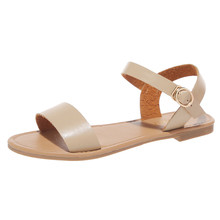 2019 Summer women buckle solid color Roman flat shoes sandals female fashion casual wild open toe sandals ladies shoes
