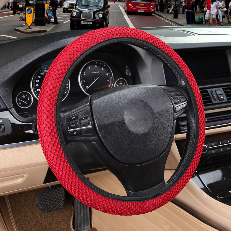 DIY Car Steering Wheel Cover Fit For Most Cars Breathability Sandwich Fabric Durable Skidproof Auto Covers Car Styling seaside scenery skidproof crystal velvet fabric rug
