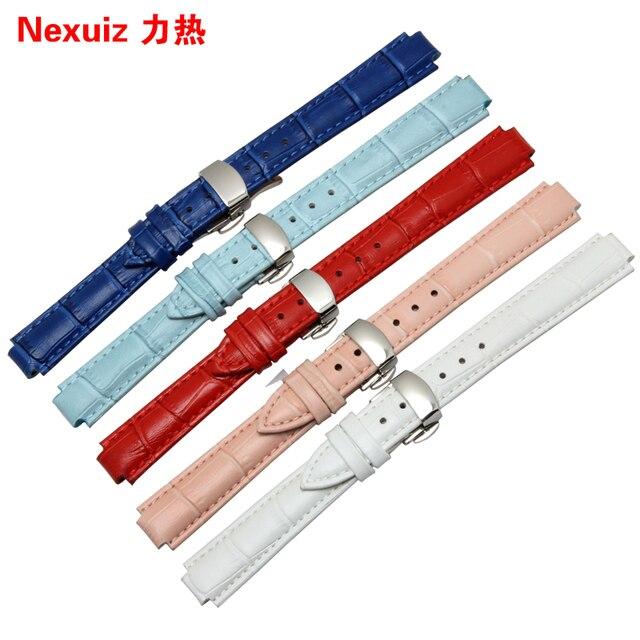 Reloj con correa de cuero caliente para reemplazar el LA8406 D 16*10mm hebilla de mariposa de color de moda pulsera blanco rojo correas de reloj