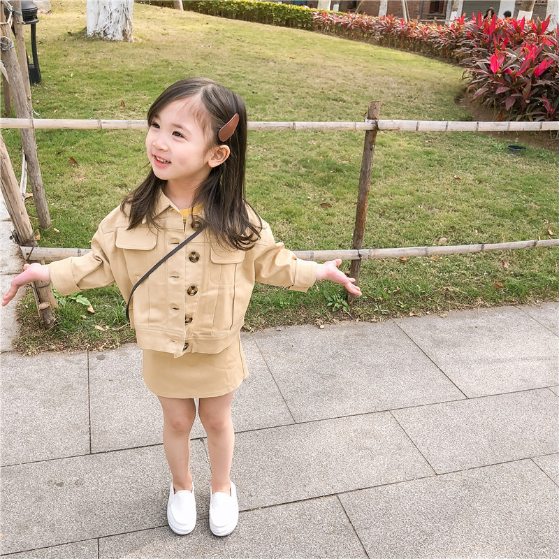 2019 Spring New Arrival Korean Style Cotton Clothing Sets Pure Color Casual Jacket With Short Skirt Fashion Suit For Baby Girls