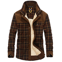 100% Cotton Liner Fleece Casual Shirt Men Winter Thick Wool Turn Down Plaid Shirts Coat Mens Long Sleeve Shirt Military Jackets