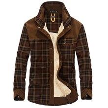 100% bawełniana podszewka polarowa koszula na co dzień mężczyźni zima gruba wełna skręcić w dół koszule w szkocką kratę płaszcz męska koszula z długim rękawem kurtki wojskowe