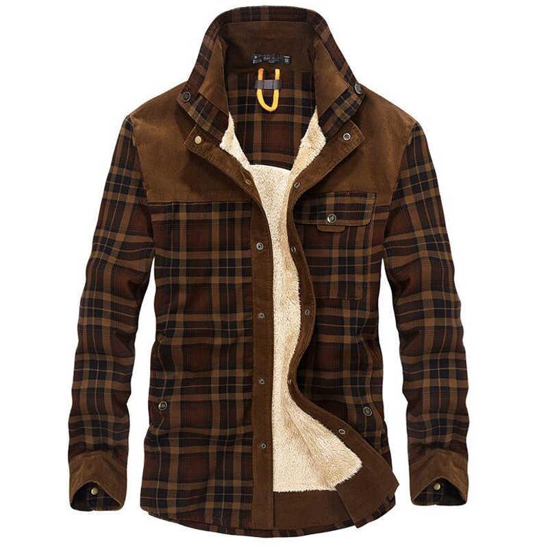% 100% pamuk astar polar Casual gömlek erkekler kış kalın yün Turn Down ekose gömlek ceket erkek uzun kollu gömlek askeri ceketler