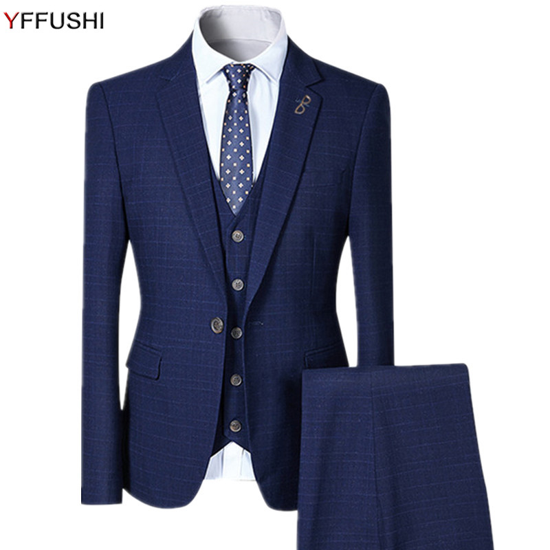 YFFUSHI 2018 New Men Suit 3 Pieces One Button Plaid Suits 4 Colors Wedding Party Business Casual Style Slim Fit Fashion