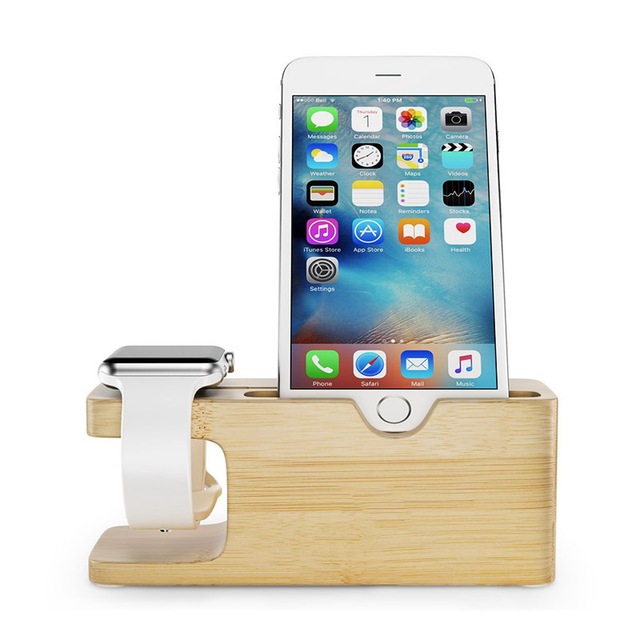 Bamboo Desk Phone Holder Stand For Apple Watch Dock Cradle Charging Station  Holder For IPhone 7
