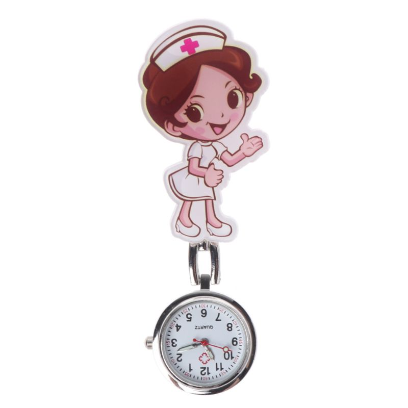 Nurse Watch Acrylic Quartz Cartoon Chest Hang Clip Pendant Jewelry Charm Women Girls Doctor Pocket Watch Portable Hospital