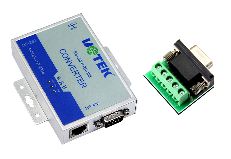 UT-2216 RS-232/RS-485 Interface Converter 600W Surge Lightning protection RS232 to RS485 Active converter 1.2KM rs232 to rs485 active converter 232 to 485 converter with power db9 to rs485 converter rs485 adapter
