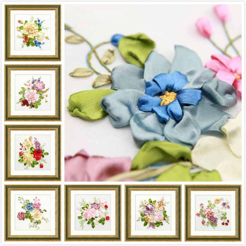 DIY Flower Ribbon Embroidery Kit Cross Stitch Painting Needlework Set Handcraft Handmade Sewing Art Wall Home Decor 7 Styles(China)