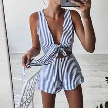 High Waist Striped Playsuit Deep V Neck Tank Bodysuit Women Shorts Boho Jumpsuit Vestido Summer Style Bow Resort Wear Romper