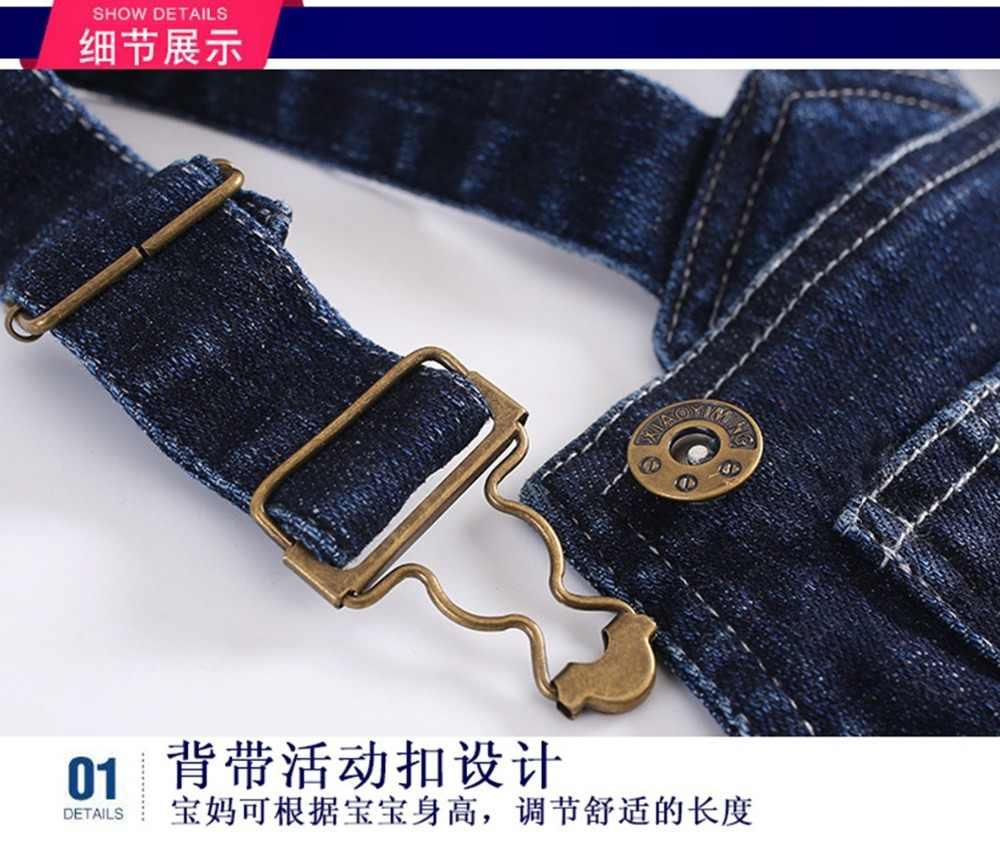 Musim Dingin Bib Overall 1-4 T Bayi Anak Laki-laki Anak Perempuan Denim Fleece Hangat Pakaian Balita Jeans Celana Panjang BEBE Romper baju Anak Celana