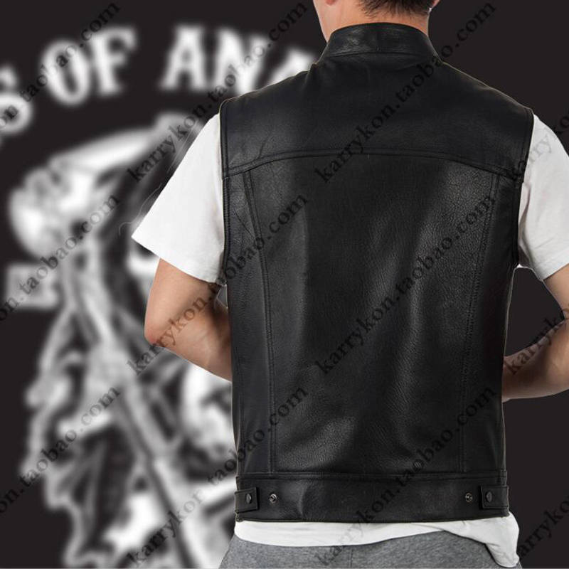 Dropshipping Sons Of Anarchy Black Color Harley Motorcycle Vest Jacket Embroidery Leathe ...
