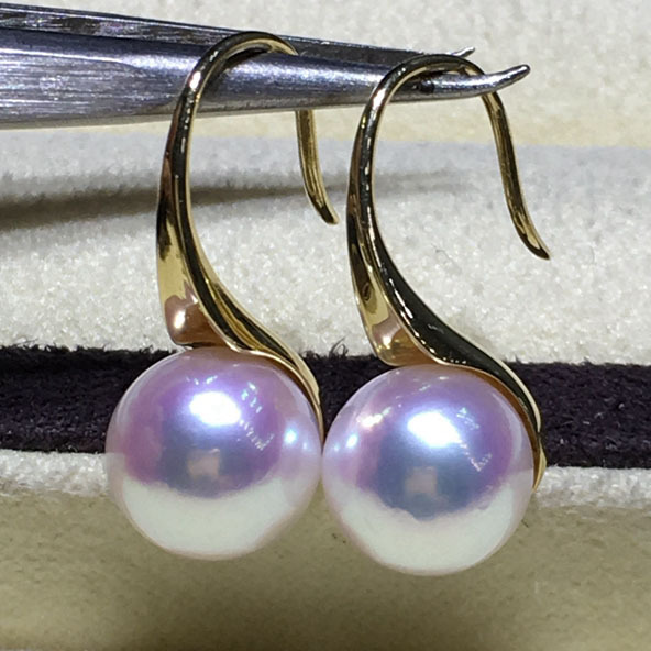 KingDeng G18K gold high heels pearl earrings wholesale 8 8.5mm white pink bright akoya sea water pearl wedding anniversary gift