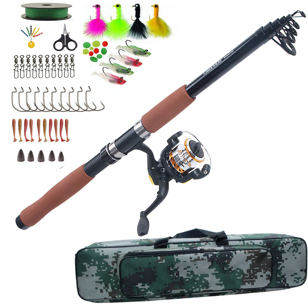 Fishing Rod Combo set Telescopic Sea Spinning rod reel bag kit with fishing lure hook Texas rig kit tackle tools