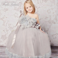 Lace Up Feathers with Lace Sleeveless Beading with Tribute Silk Flower Girl Dress Bow one shoulder Ball Gown for Weddings 2016