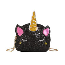 Fashion Unicorn bag for Girls Travel Women Cartoon Printing Shoulder Bags Sequins leather wallet clutch wholesale crossbody