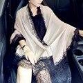 200x100 cm Natural Chiffon De Seda Lenços de Renda Mulher Marca Cachecol de Inverno Longo Sólida Fourlard Pareol Echarpe Hijab Islam xales S6