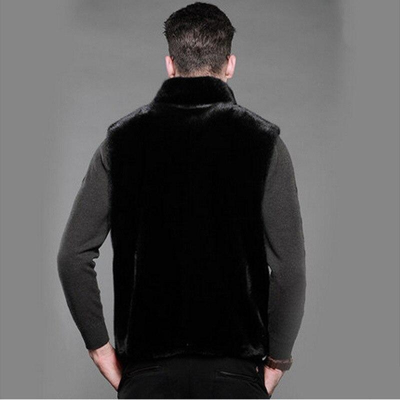 Mens Faux Fur Coat Fleece Faux Fur Jacket Otter Collar Vest Hooded Vest Autumn/Winter Large Size Jacket Size S M-3XL 4XL 5XL
