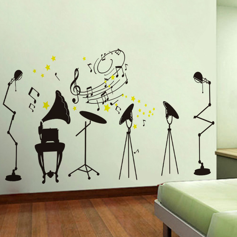 Personalized Fashion Creative Music Theme Wall Stickers Living Room Art Wall Decoration Stickers Crazy Rock Wallpaper